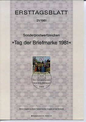 "BRD MiNr 1112 ETB 21-81 ""Tag der Briefmarke 1981"" -Post-Philatelie-Postkutsche-"