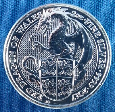 2017 Queen's Beasts Red Dragon of Wales 2 Ounce .9999 Silver Coin