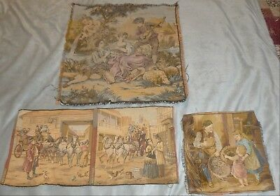 Lot/4 Small FRENCH TAPESTRIES Antique & Vintage: Carriage & Horses, Basket Weave