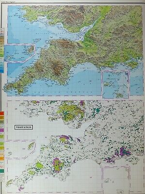 VINTAGE LARGE MAP of BRITAIN SOUTH WEST ENGLAND VEGETATION GRASSLAND SAND DUNES