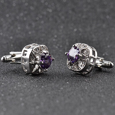 New Purple Crystal Silver Mens Wedding Party Gift Shirt Cuff Links
