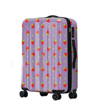 D583 Lock Universal Wheel Purple Strawberry Travel Suitcase Luggage 20 Inches W