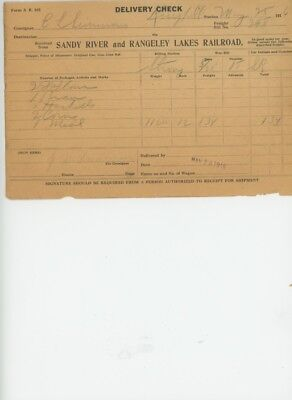 Sandy River & Rangeley Lakes Railroad Delivery Check 1916