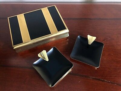 AUSTRIAN Art Deco CIGAR CASE Tobacco Box w ASHTRAYS Vintage MCM Cigarette GIFT