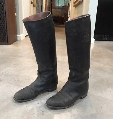 VTG 1910s WWI Era Black Leather Riding Boots Cavalry Military Womens Display