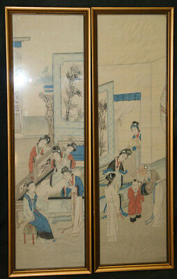 2 Chinese Framed Fabric Artwork Pieces From Austria