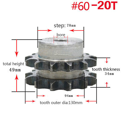 "#60-2 Double Strand Drive Sprocket 20T Pitch 3/4"" 19.05mm For  12A Roller Chain"