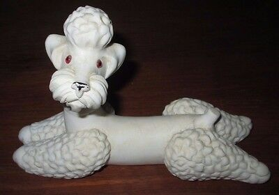 c1800s Heavy Antique HAND CARVED ITALIAN MARBLE WHITE POODLE Dog Figurine statue