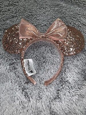 Rose Gold Minnie Mouse Ears Hat Headband