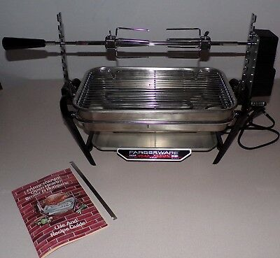 Vtg Farberware 455N Open Hearth Stainless Electric Broiler Grill w/ Rotisserie