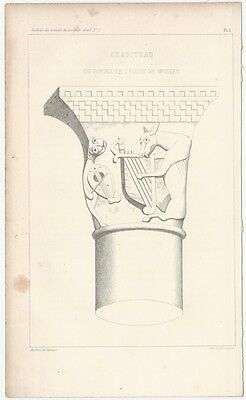 1849 Engraved Plate of Medieval Architectural Details - Romanesque Column Top