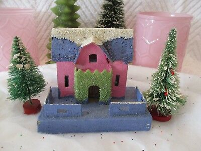Vitg Xmas Village Putz House Purple, Pink, Green W/ 2 small Bottle Brush Trees!