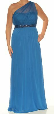 ADRIANNA PAPELL $189 Womens New 1048 Blue Beaded Fit + Flare Formal Dress 14 B+B