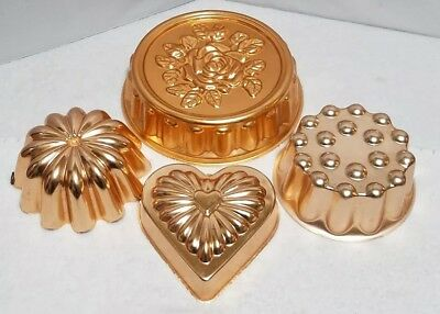 Lot Vintage Copper Aluminum Heart circle rose Cake Jello Mold Pan Wall Hanging