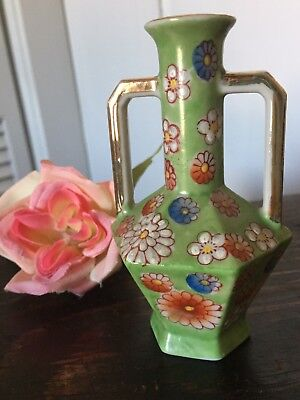 Rare Vintage Antique Old Meiko Hand Painted Floral Vase Green Occupied Japan