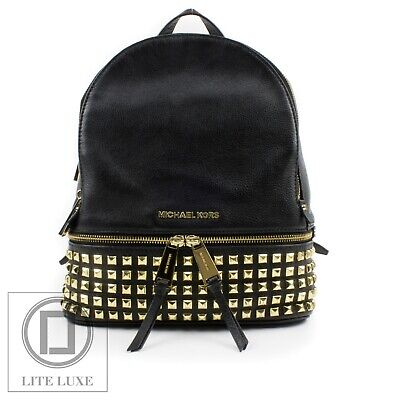 15eb6c8e36b6 Michael Kors Rhea Medium Gold Studded Leather Backpack Bag Black RRP £350