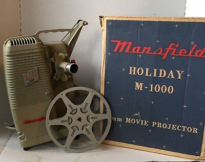 1960 Mansfield  Holiday  8 Mm  M-1000 Movie Projector Original Box & Movie Reel