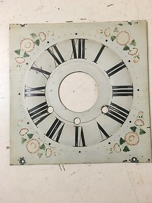Antique Floral Decorated Ogee Clock Dial W/ Alarm Arbor Hole Frost