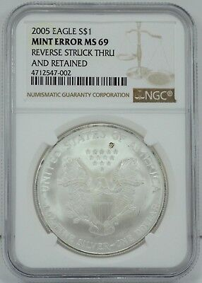 2005 Silver Eagle $1 Coin NGC MINT ERROR Reverse Struck Thru and Retained MS69