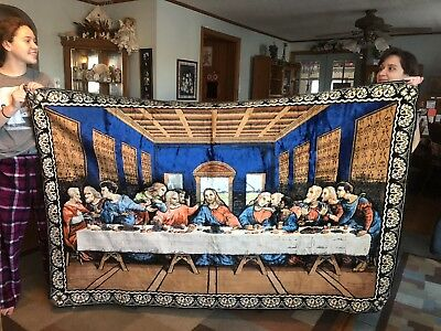 "HUGE Vintage PLUSH Velvet THE LAST SUPPER TAPESTRY WALL Hanging 78"" x 48"" ITALY"
