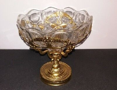 "Vintage Cut Glass Candy Dish Footed Gold Washed Metal Base 6"" Key Coin Cup"