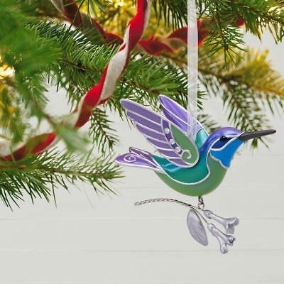 Hallmark 2018 Hummingbird Surprise Green Purple Mystery Ornament
