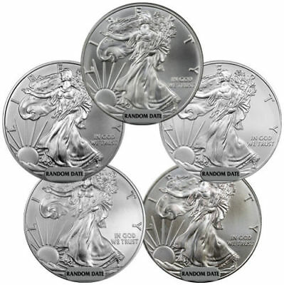 SPECIAL PRICE!  FIVE (5) RANDOM DATE 1 oz. American .999 Silver Eagles, BU