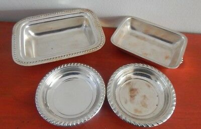 Set Of 4 Silverplate Silver Plate Nut, Candy, Trinket Dish