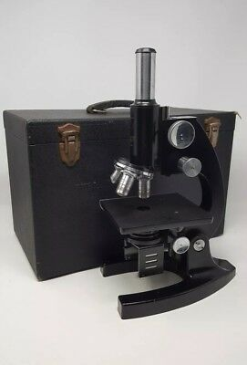 Bausch And Lomb Microscope Vintage With Box Case