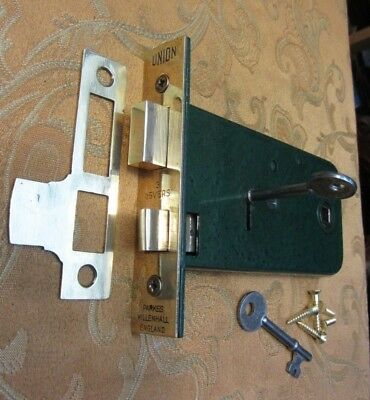 OLD VINTAGE 1930'S Union 3 lever Horizontal Mortice Lock and 2 working Keys