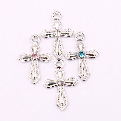 Lots Mixed Tibet Silver Plain Cross Spacer Pendant DIY Necklace Jewelry Acces