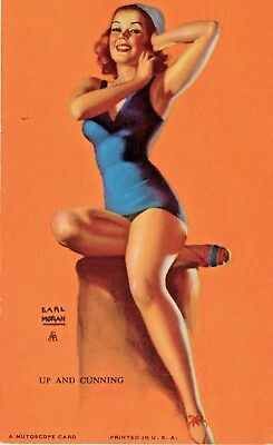 Earl Moran, Pin up Bathing Beauty USA Mutoscope Arcade Card - Up and Cunning