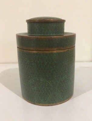 Antique Chinese Cloisonne Tea Caddy Box Green Colour