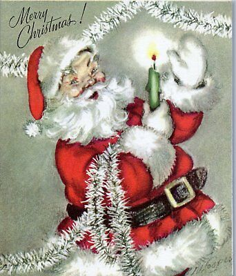 Santa Claus Marjorie Cooper Tinsel Garland Candle VTG Christmas Greeting Card