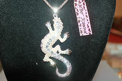 """Lizard necklace, Wild Life Betsey Johnson GP 30"""" Chain, 3"""" Long Small Pearl"""