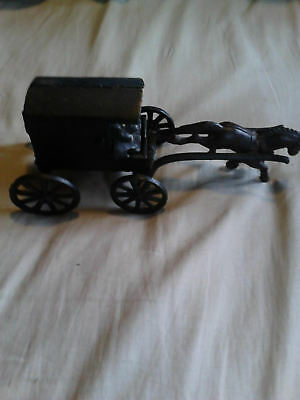 Cast Iron Amish Family Horse Drawn Carriage Buggy Wagon Vintage Two Piece