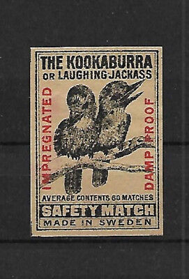The Kookaburra Or Laughing Jackass Matchbox Label.  Made In Sweden