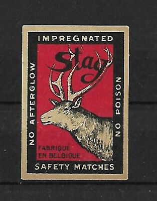 Stag Safety Matches Made In Belgium. Matchbox Label