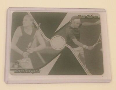 RARE Ace Authentic, CYAN PRESS PLATE, FEDERER & SHARAPOVA 1 of 1