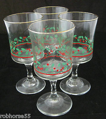 "Arbys HOLLY & BERRIES 4-6 3/4"" Wine Water Goblets Stemware Optic Swirl Gold ec 1"