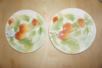 Set of 2 Vintage St Clement French Majolica Fruit Plates Apricot NEW