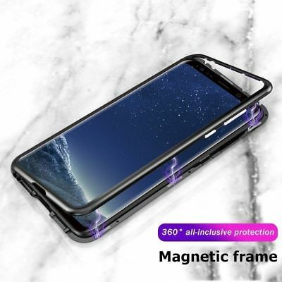Magnetic Absorption Metal Bumper Glass Case Cover for Galaxy S9