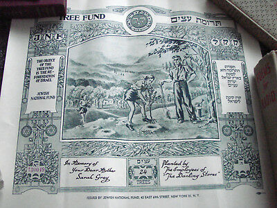 Vintage 50s Certificate Israel Tree Jewish National Fund T30049 Reforestation