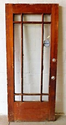 Antique Craftsman Style Nine Lite Entry Door - C. 1910 Fir Architectural Salvage