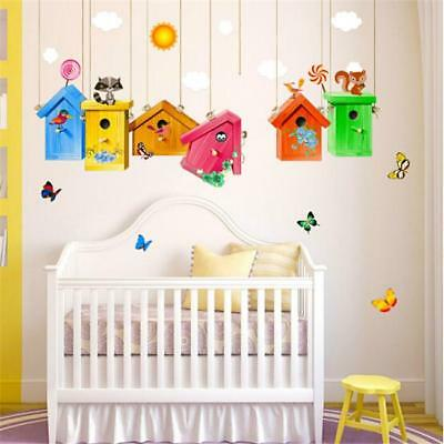 Colored Flowers Birdcage Butterfly Wall Sticker Kids Rooms Sticker Home Decor MN