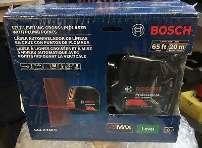 BOSCH GCL2-160S SELF LEVELING Cross Line Laser With Plumb Points/100ft/BRAND NEW
