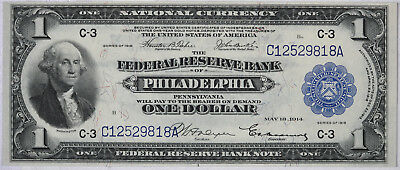 1918 $1 Federal Reserve National Currency Bank Note PHILADELPHIA PA Fr. 715