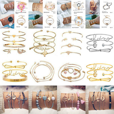 Lot Pcs Set Women Bracelet Adjustable Bangle Chain BOHO Party Jewelry Chic Gifts