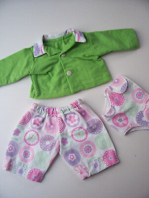 """Handmade doll's  floral pyjama set and nappy  to fit 17"""" Baby Born or similar"""