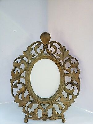 """Antique Brass Rococo Gilt Easel Back Picture Frame with 2 5"""" x 3.75"""" Oval"""